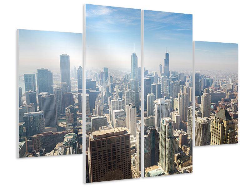Hartschaumbild 4-teilig Wolkenkratzer Chicago