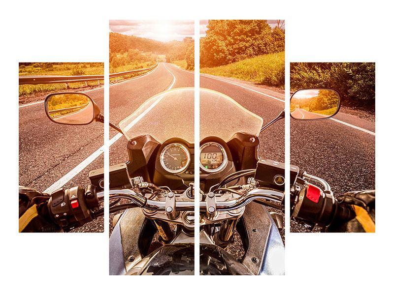 Hartschaumbild 4-teilig Motorrad-Tour