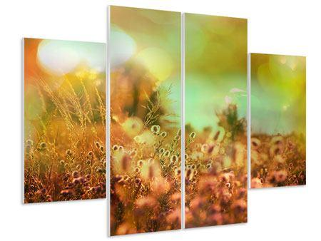 Hartschaumbild 4-teilig Blumenwiese in der Abenddämmerung