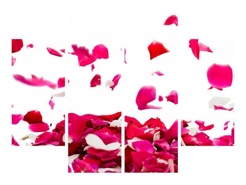 Hartschaumbild 4-teilig Für mich soll`s rote Rosen regnen
