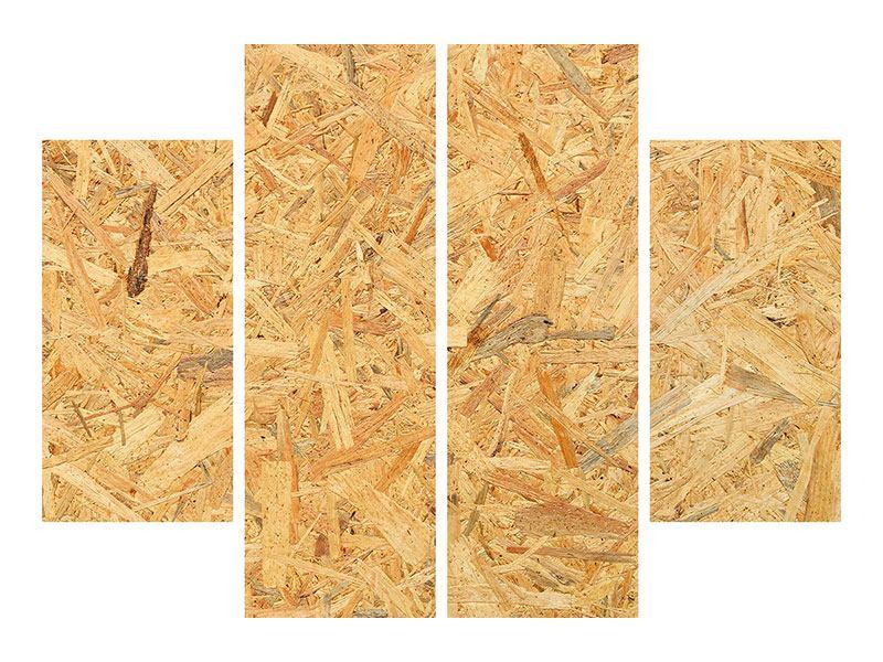 Hartschaumbild 4-teilig Gepresstes Holz