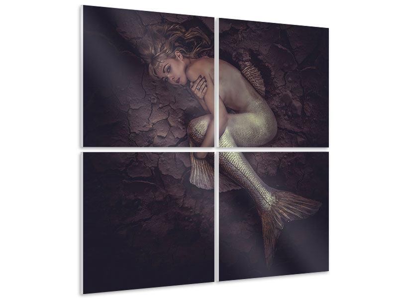 Hartschaumbild 4-teilig Meerjungfrau