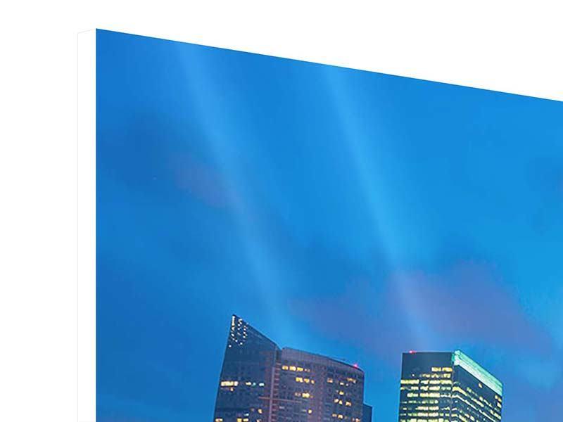 Hartschaumbild 4-teilig Skyline Singapur im Lichtermeer