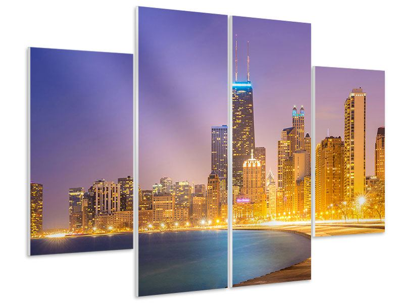 Hartschaumbild 4-teilig Skyline Chicago in der Nacht