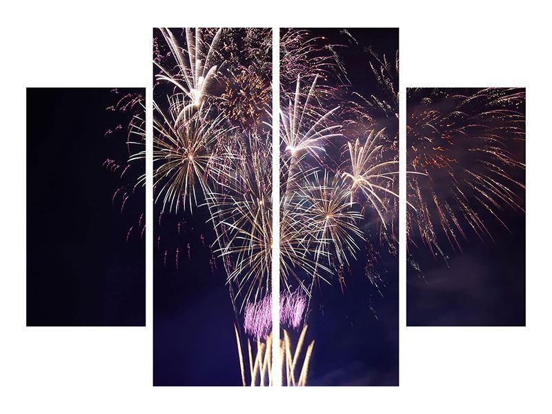 Hartschaumbild 4-teilig Feuerwerk