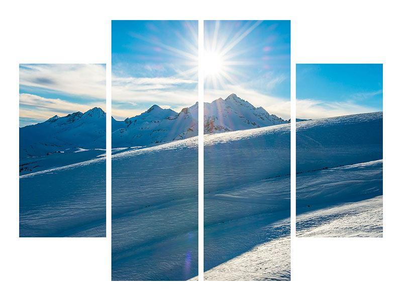 Hartschaumbild 4-teilig Ein Wintermärchen in den Bergen