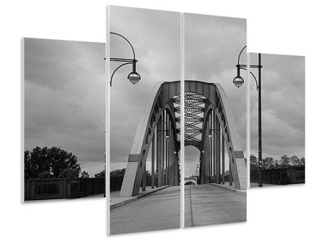 Hartschaumbild 4-teilig Poetische Brücke