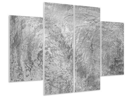 Hartschaumbild 4-teilig Wischtechnik in Grau