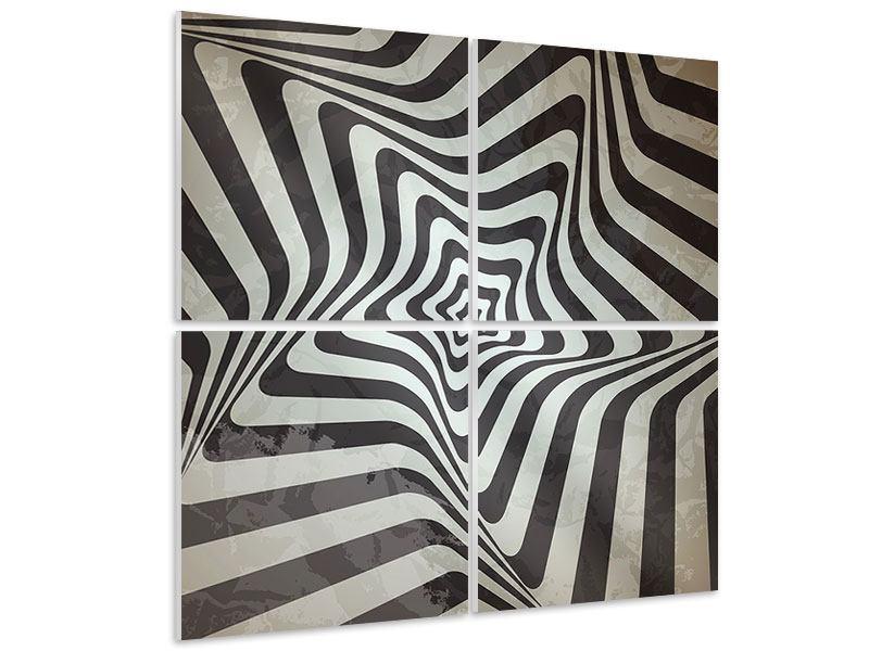 Hartschaumbild 4-teilig Abstrakte Bewegungen