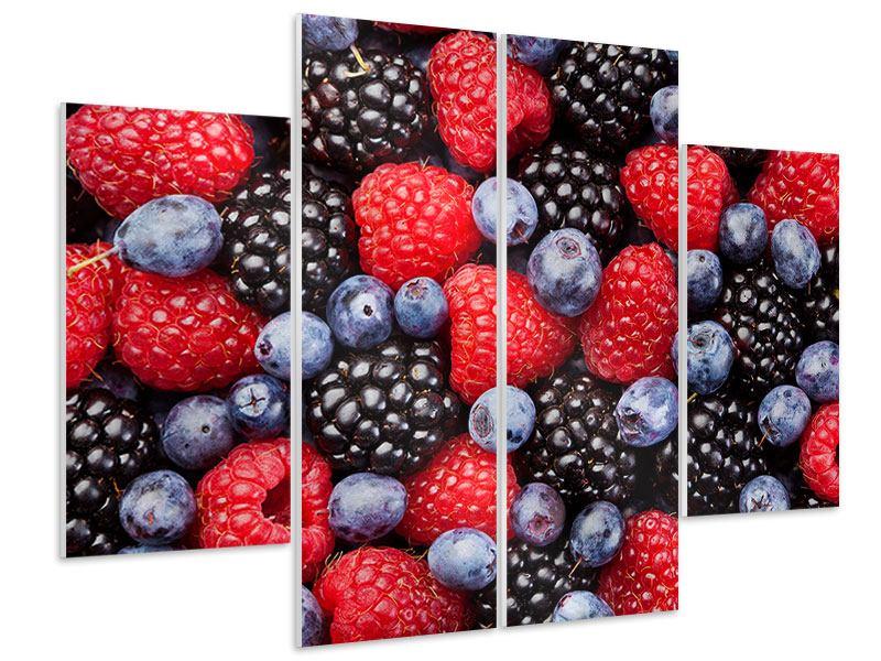 Hartschaumbild 4-teilig Beeren