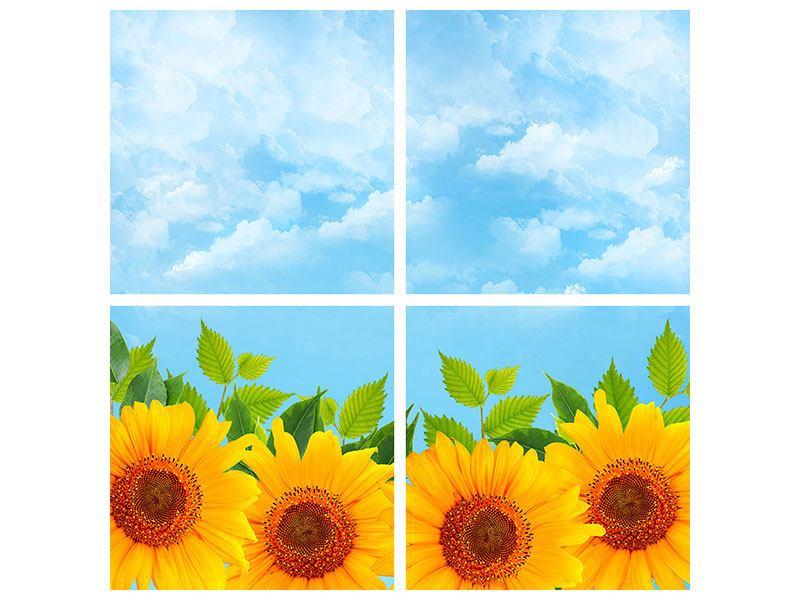 Hartschaumbild 4-teilig Sonnen Flower Power