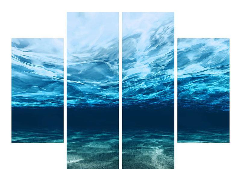 Hartschaumbild 4-teilig Lichtspiegelungen unter Wasser