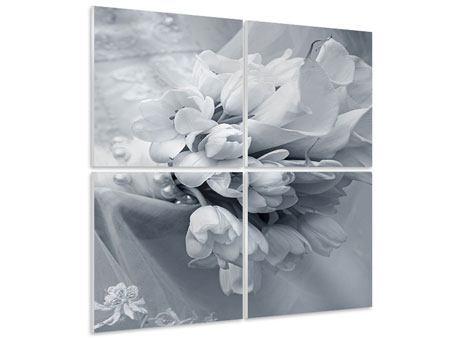 Hartschaumbild 4-teilig Romantisches Tulpenbukett