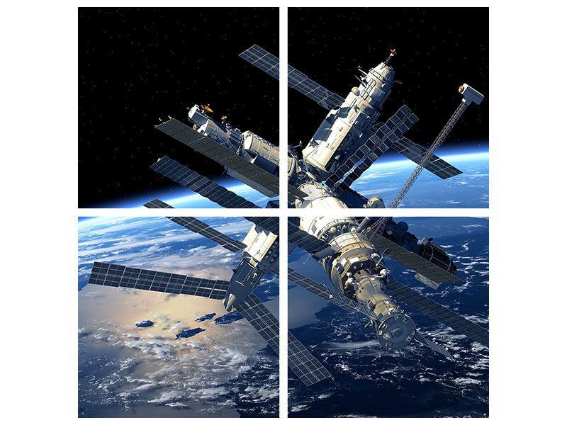 Hartschaumbild 4-teilig Raumstation
