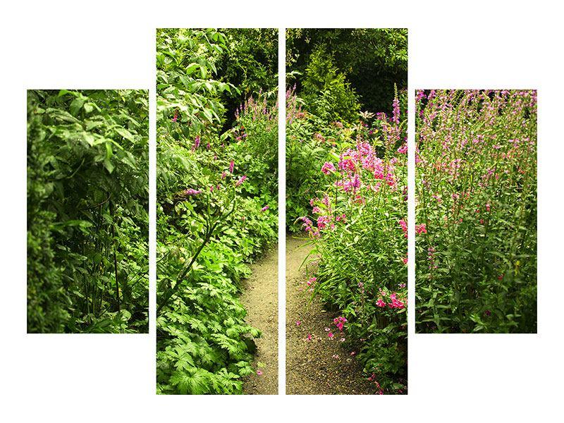 Hartschaumbild 4-teilig Gartenweg