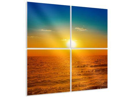 Hartschaumbild 4-teilig Das Meer im Sonnenuntergang