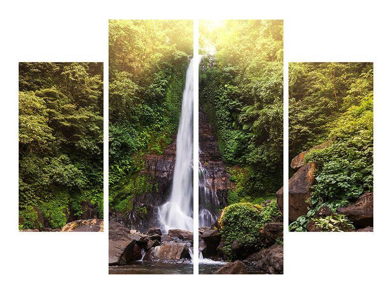 Hartschaumbild 4-teilig Wasserfall Bali