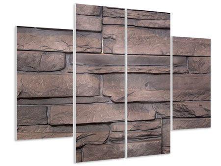 Hartschaumbild 4-teilig Luxusmauer