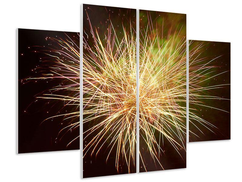 Hartschaumbild 4-teilig Feuerwerk XXL