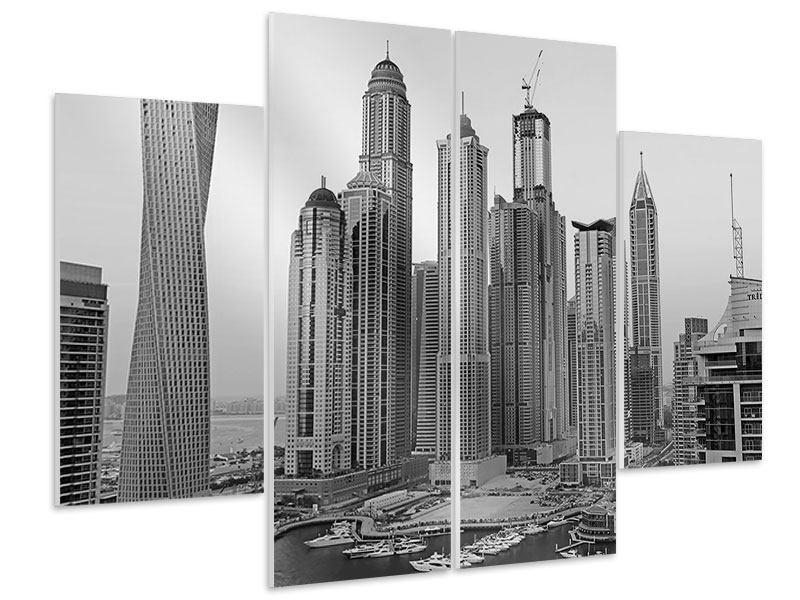 Hartschaumbild 4-teilig Majestätische Wolkenkratzer in Dubai