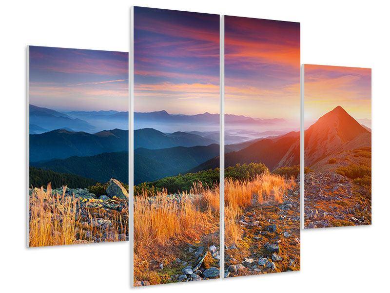 Hartschaumbild 4-teilig Sonnenuntergang in den Alpen