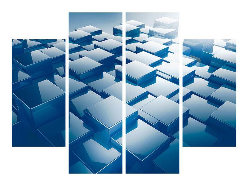 Hartschaumbild 4-teilig 3D-Cubes