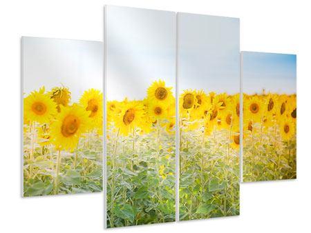 Hartschaumbild 4-teilig Im Sonnenblumenfeld