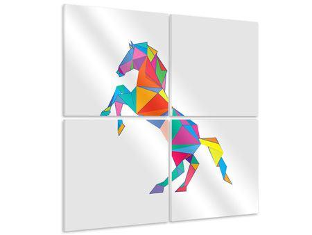 Hartschaumbild 4-teilig Origami Pferd