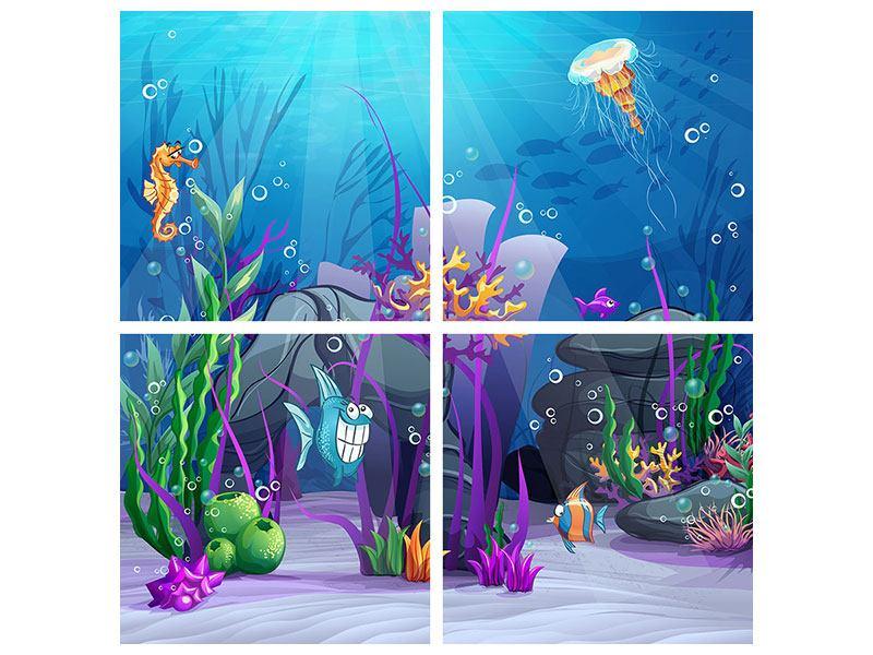 Hartschaumbild 4-teilig Unterwasserschatzsuche