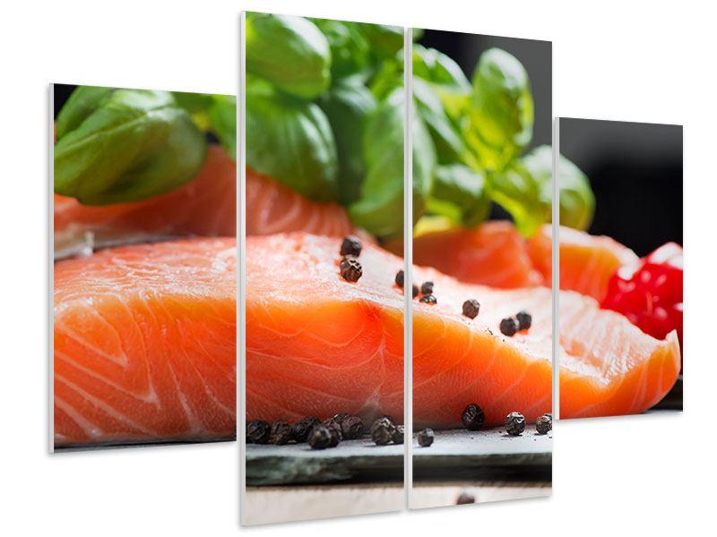 Hartschaumbild 4-teilig Frischer Fisch