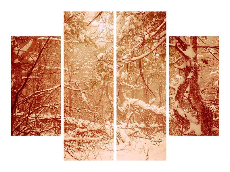 Hartschaumbild 4-teilig Schneewald