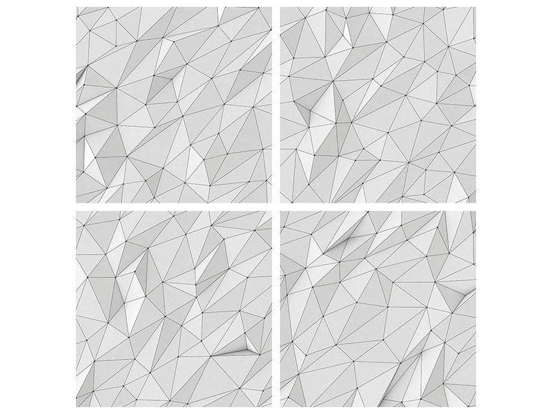 Hartschaumbild 4-teilig 3D-Geo