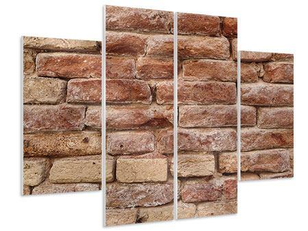 Hartschaumbild 4-teilig Loft-Mauer