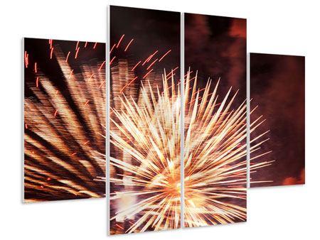 Hartschaumbild 4-teilig Close Up Feuerwerk