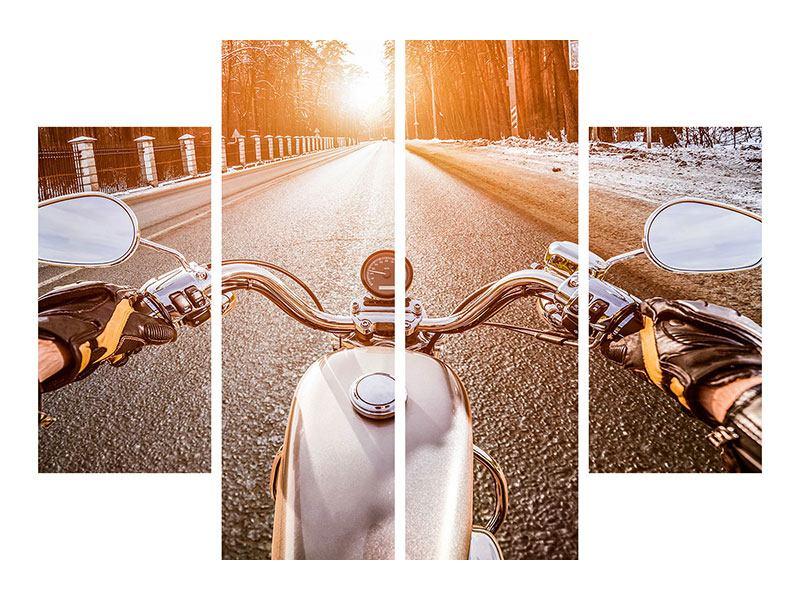 Hartschaumbild 4-teilig Auf dem Motorrad
