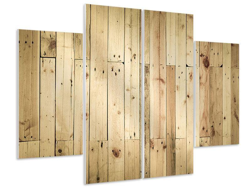 Hartschaumbild 4-teilig Holzpaneelen