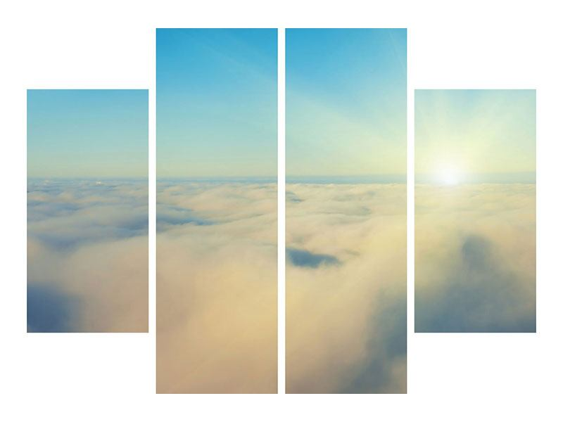 4 Piece Forex Print Photo Wallaper Dawn Above The Clouds