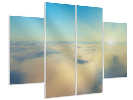Hartschaumbild 4-teilig Dämmerung über den Wolken