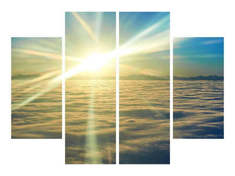 Hartschaumbild 4-teilig Sonnenaufgang über den Wolken