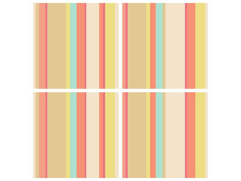 Hartschaumbild 4-teilig Pastell Streifen