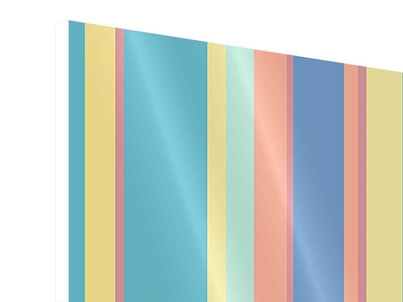 Hartschaumbild 4-teilig Längstreifen in Pastell