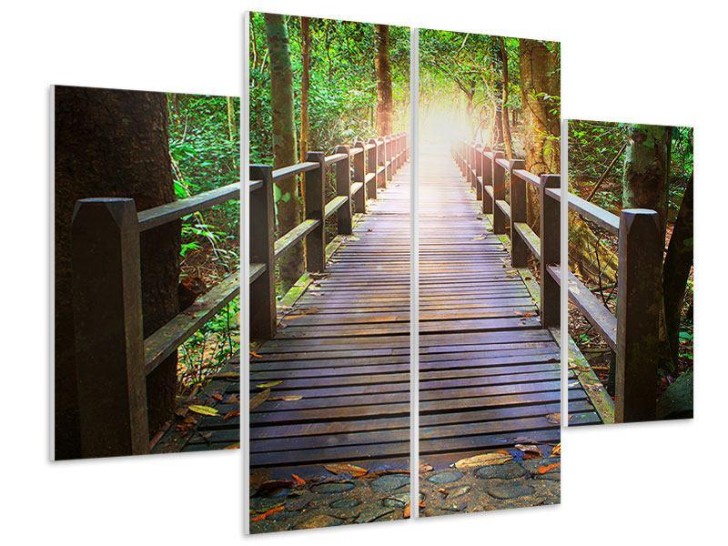 Hartschaumbild 4-teilig Die Brücke im Wald