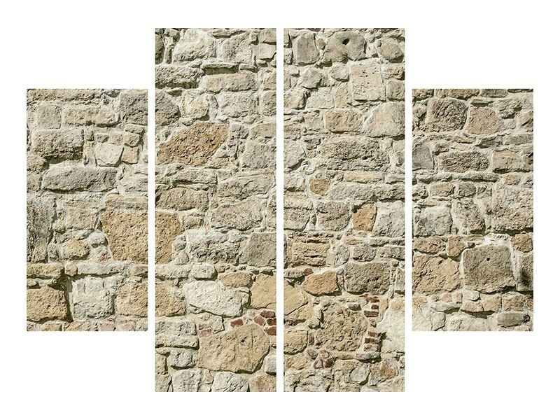 Hartschaumbild 4-teilig Naturmauer