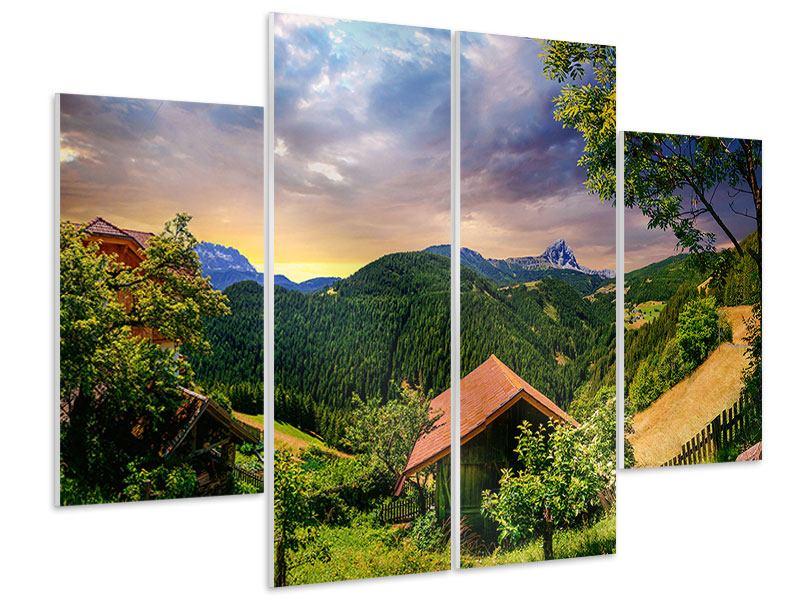 Hartschaumbild 4-teilig Schweizer Berge im Sommer