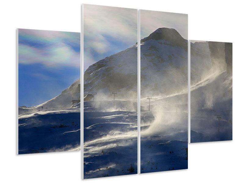 Hartschaumbild 4-teilig Mit Schneeverwehungen den Berg in Szene gesetzt