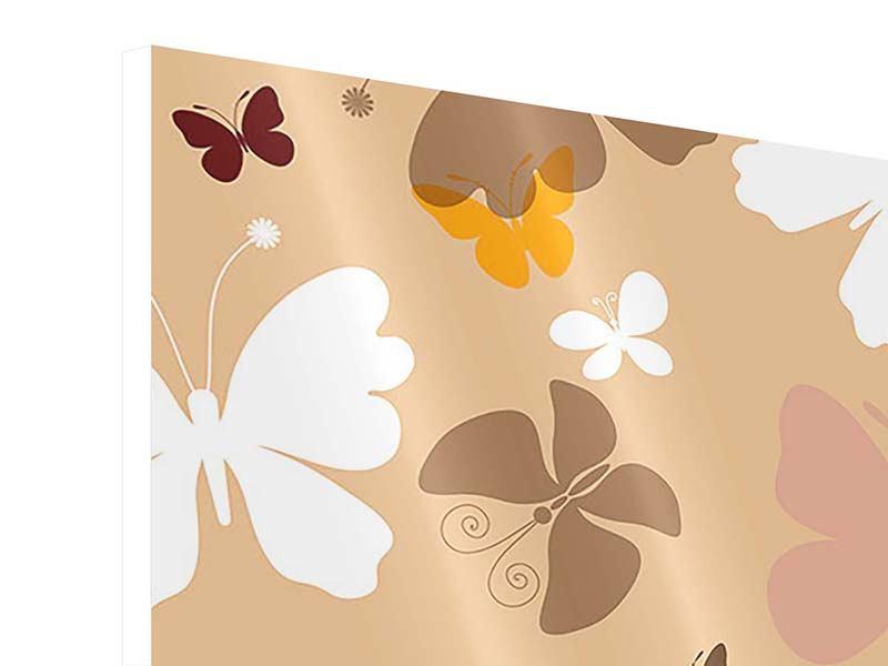 Hartschaumbild 4-teilig Retrodesign Schmetterlinge