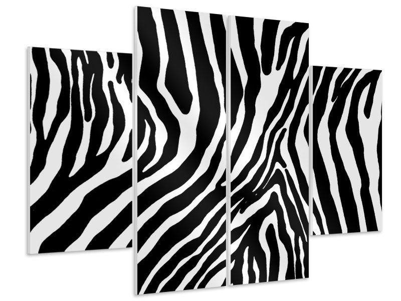 Hartschaumbild 4-teilig Zebramuster