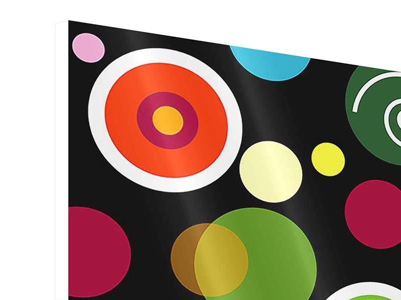 Hartschaumbild 4-teilig Bunte Retrolook Kreise