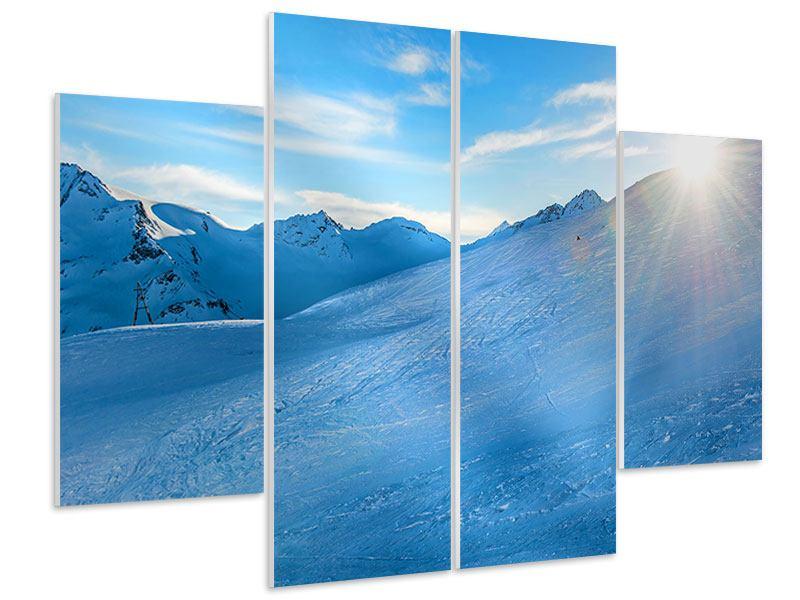 Hartschaumbild 4-teilig Sonnenaufgang in den Bergen