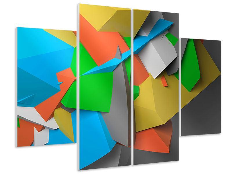 Hartschaumbild 4-teilig 3D-Geometrische Figuren
